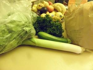 parsley, leek, fruit bag of mushrooms, lettuce
