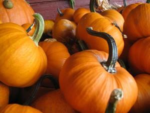 stacked orange pumpkins