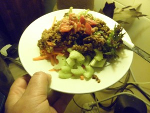 walnut, celery, carrot, tomato salsa on a plate