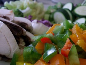 chopped vegetables - capsicum, mushroom, zucchini, onions