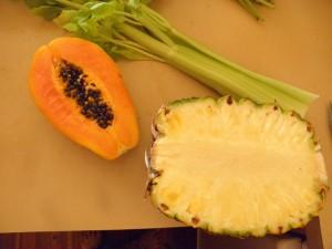papaya, pineapple and celery