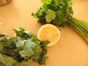 parsley, lemon and coriander