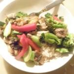 chicken stirfry on brown rice