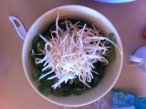 salad bowl with pea leaves and bean sprouts