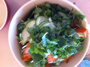 salad bowl with coriander and mint