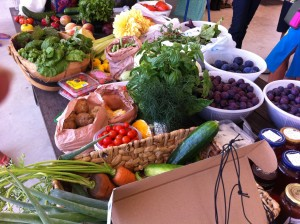 table filled with fresh produce such as basil, plums, tomatoes, beans etc