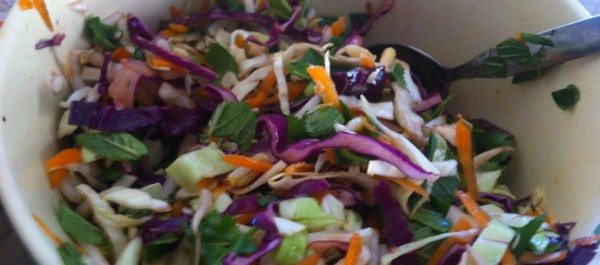 salad of cabbage, mint, coriander, bean sprouts and carrot
