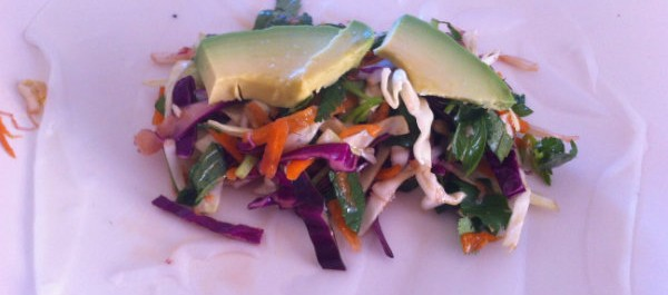 rice paper with asian salad and avocado