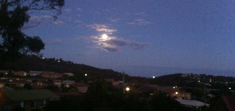 winter solstice, longest night, southern hemisphere, moon rising over the coast